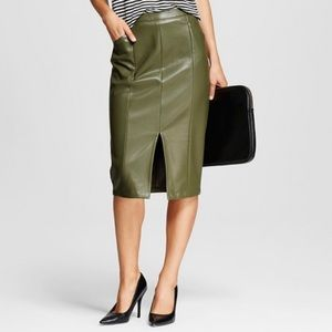 NWT whowhatwear faux leather olive pencil skirt